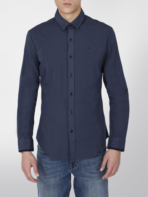 CALVIN KLEIN MINI CHECK COTTON STRETCH SHIRT