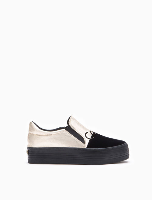 CALVIN KLEIN ZINAH METALLIC SLIP ON SHOES