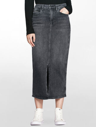 CALVIN KLEIN HIGH RISE LONG DENIM SKIRT