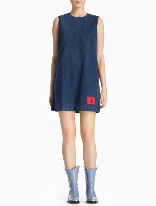 CALVIN KLEIN BANHOF BLUE DENIM DRESS