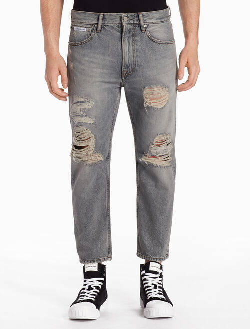 CALVIN KLEIN Novato Grey Destructed Cropped Jeans