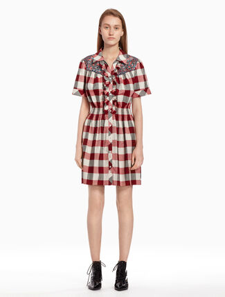 CALVIN KLEIN Checked dress with ruffles