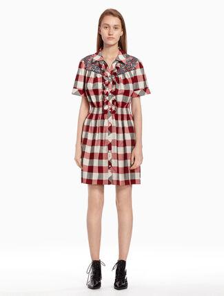 CALVIN KLEIN Checked dress with ruffles