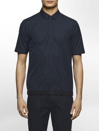CALVIN KLEIN REFINED POPLIN SHORT SLEEVES SHIRT WITH MESH TAPE( SEAN FIT )