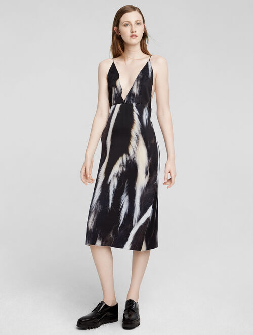 CALVIN KLEIN SILK SKUNK PRINT SLIP DRESS