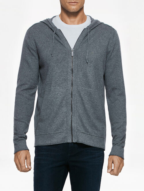 CALVIN KLEIN HOODED COTTON CASHMERE SWEATER CARDIGAN