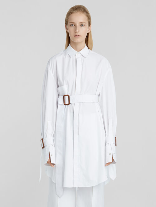CALVIN KLEIN COTTON POPLIN BELTED OVERSIZED SHIRT