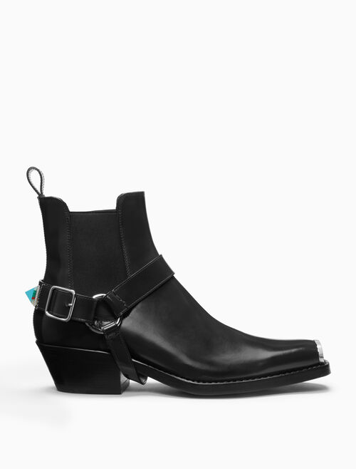 CALVIN KLEIN western harness boot in calf leather with 205 silver toe plate