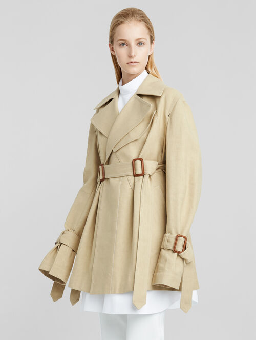 CALVIN KLEIN COTTON LINEN CROPPED TRENCH