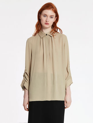 CALVIN KLEIN HEAVY SILK GEORGETTE LONG SLEEVES TOP
