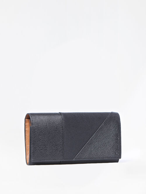 CALVIN KLEIN MIXED TEXTURE LONG FOLD WALLET