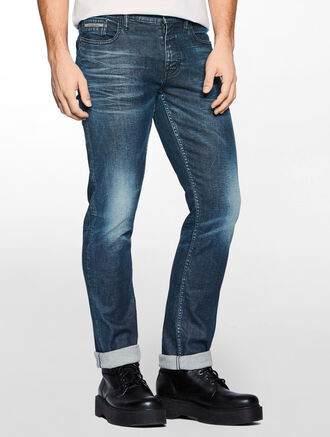 CALVIN KLEIN SLIM STRAIGHT SELVEDGE DENIM JEANS