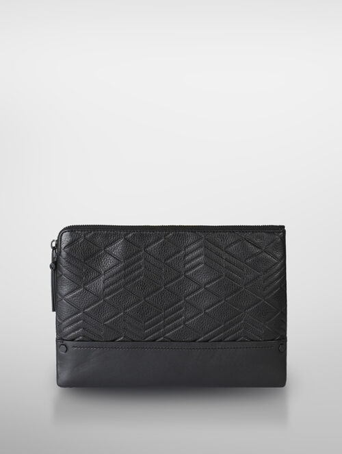 CALVIN KLEIN LOGO EMBOSS LEATHER SMALL PORTFOLIO
