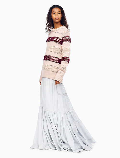 CALVIN KLEIN EMBROIDERED STRIPE KNIT PULLOVER