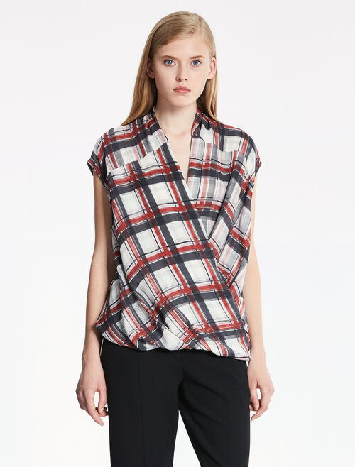 CALVIN KLEIN PLAID PRINTED SILK DOUBLE LAYER SLEEVELESS TOP