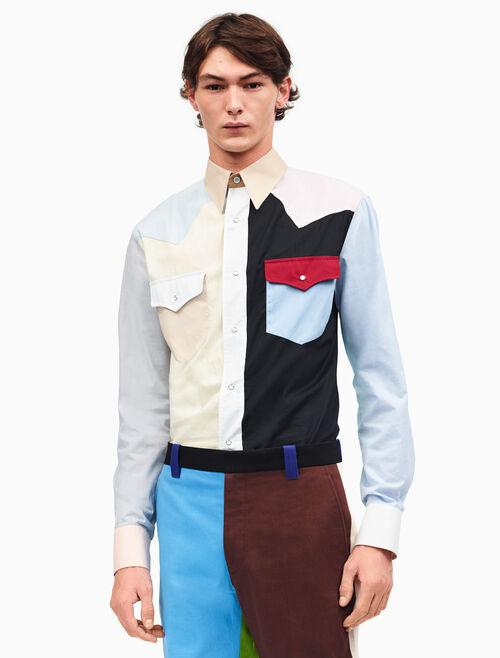 CALVIN KLEIN 컬러블록 웨스턴 셔츠