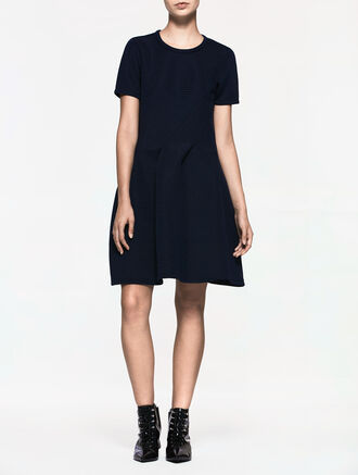 CALVIN KLEIN FLARED SHORT SLEEVES DRESS