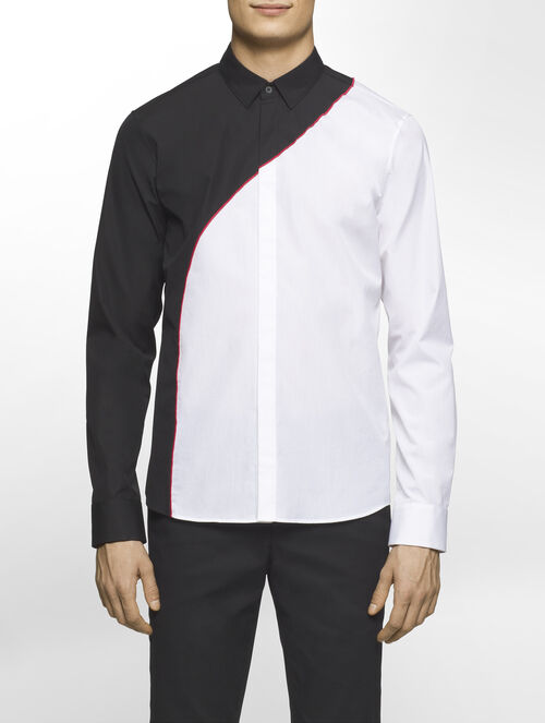 CALVIN KLEIN REFINED POPLIN COLOUR BLOCK LONG SLEEVES SHIRT ( SA-XTREME FIT )