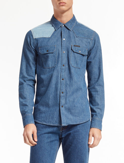 CALVIN KLEIN DISORDER BLUE WASH DENIM SHIRT
