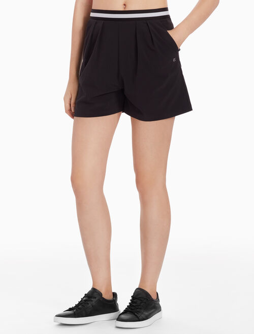 CALVIN KLEIN WOVEN SHORTS WITH STRIPED WAISTBAND