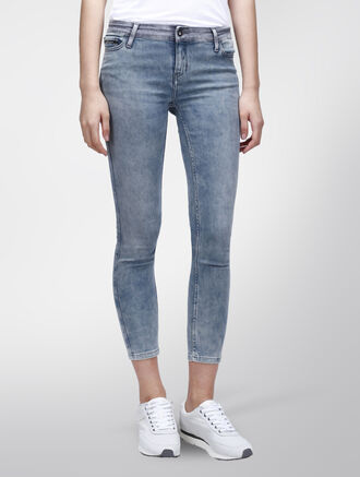CALVIN KLEIN GRE BLACK MID RISE ANKLE SKINNY JEANS
