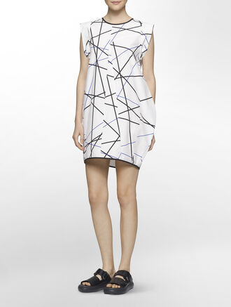 CALVIN KLEIN BROKEN GRID PRINT VOLUMINOUS DRESS - FULLY LINED