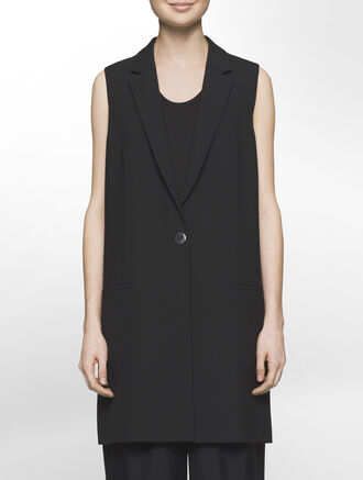 CALVIN KLEIN BONDED MODERN STRETCH LONG SLEEVELESS VEST - FULLY LINED
