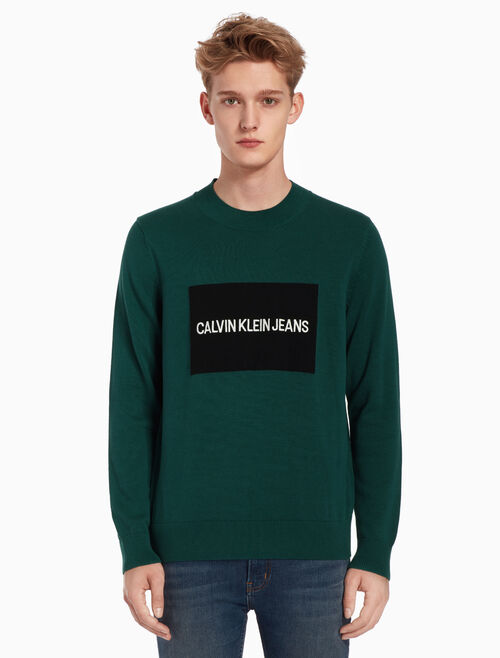 CALVIN KLEIN INSTITUTIONAL LOGO BOX SWEATER