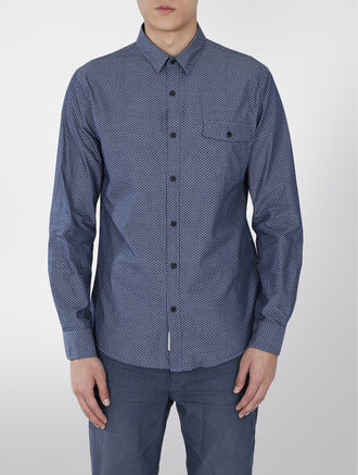 CALVIN KLEIN TEXTURED CHAMBRAY SHIRT