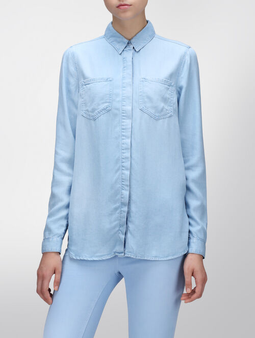 CALVIN KLEIN BLUE IRIS DENIM SHIRT