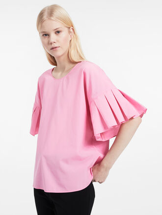 CALVIN KLEIN MATTE COTTON PLEATED SLEEVE TOP