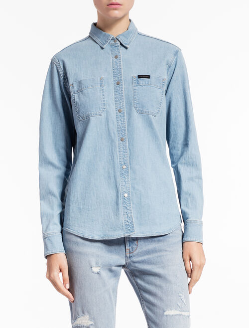 CALVIN KLEIN CHELSEA BLUE WASHED UTILITY SHIRT