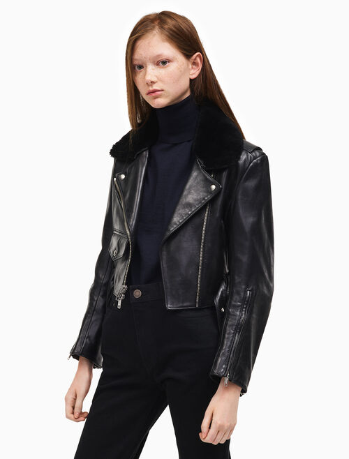 CALVIN KLEIN leather biker jacket