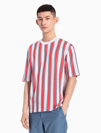 CALVIN KLEIN KNITTED TEE WITH DUAL-TONED STRIPE