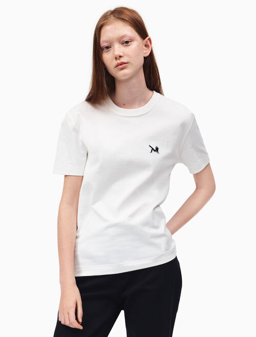 CALVIN KLEIN brooke shields patch t-shirt
