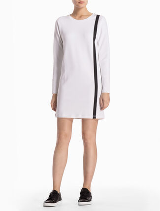 CALVIN KLEIN TWO-TONED SWEAT TUNIC WITH LONG SLEEVES