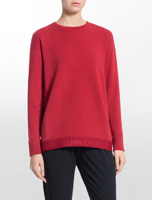 CALVIN KLEIN LOOSE FIT SWEAT PULLOVER WITH LOGO HEM