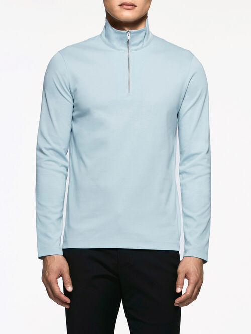 CALVIN KLEIN INTERLOCKED QUARTER-ZIP SHIRT