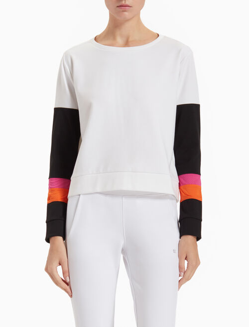 CALVIN KLEIN PULLOVER SWEATSHIRT WITH COLOR LAYERS
