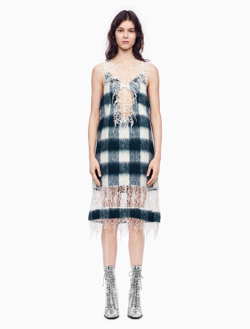 CALVIN KLEIN BUFFALO CHECK BRUSHED WOOL SLEEVELESS DRESS WITH LACE
