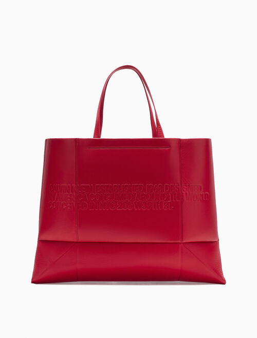 CALVIN KLEIN EMBOSSED GEOMETRIC QUILTED TOTE IN NAPPA LEATHER