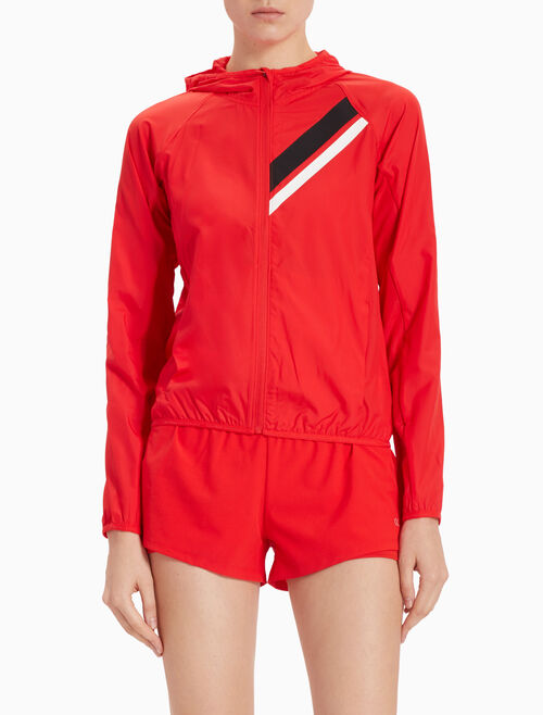 CALVIN KLEIN HOODED WINDBREAKER WITH STRIPES