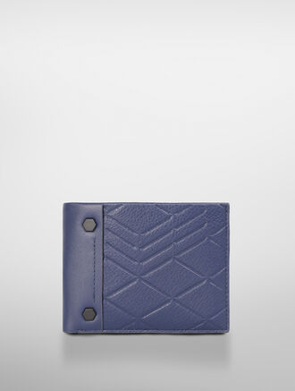 CALVIN KLEIN LOGO EMBOSS LEATHER BILLFOLD WITH DETACHABLE CARDHOLDER