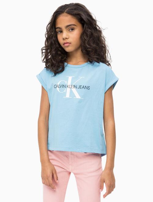CALVIN KLEIN 여아용 모노그램 로고 루즈 티셔츠