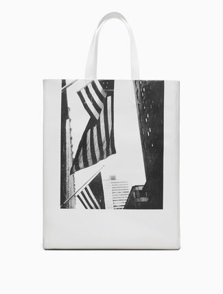 CALVIN KLEIN American Flags And Buildings Soft Tote In Nappa Leather