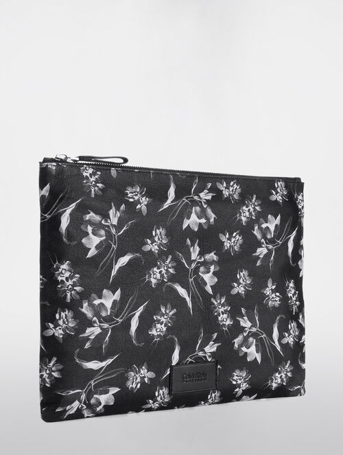 CALVIN KLEIN FLORAL EXPOSURE PRINT  PRINT EXTRA LARGE POUCH