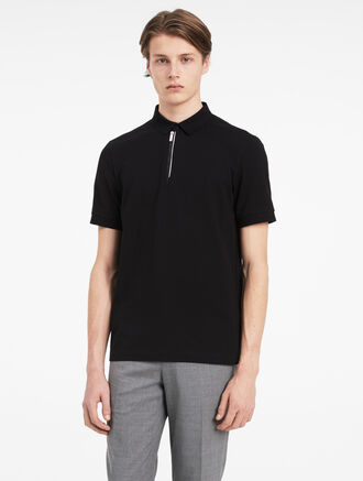 CALVIN KLEIN STRETCH MERCERIZED PIQUE ZIP POLO SHIRT