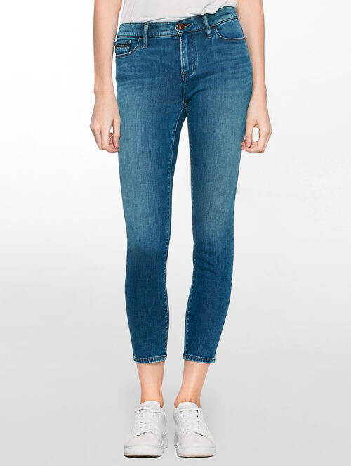 CALVIN KLEIN BLUE REVIVAL HIGH RISE SKINNY ANKLE JEANS