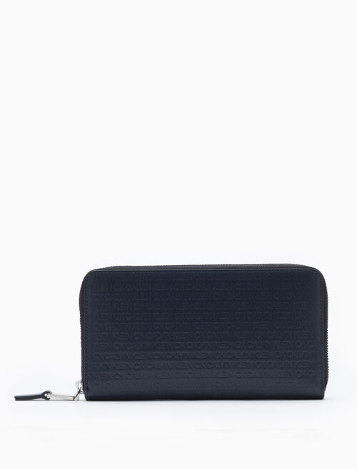 CALVIN KLEIN ALL-OVER LOGO CONTINENTAL ZIP-AROUND WALLET