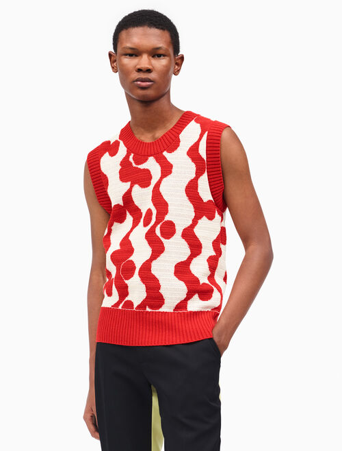 CALVIN KLEIN wave intarsia sleeveless sweater
